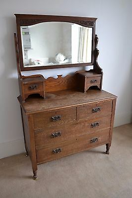 Antique Victorian Oak Dresser Chest Of Drawers With Adjustable Mirror