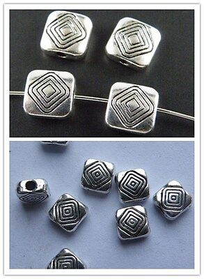 60pcs Tibetan Silver Flower Flat Spacers 9.5x3mm zn15180