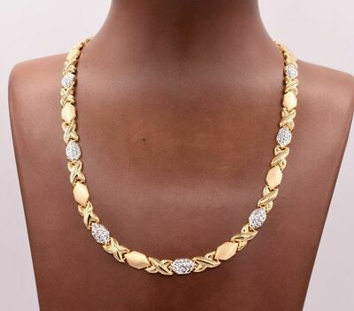 """17/"""" Hugs /& Kisses Chain Necklace 14K Yellow Gold Clad 925 Sterling Silver"""