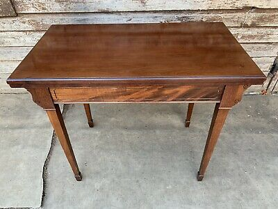 Antique Superb Early 20Th Century Solid Mahogany Fold Top Card Table 1910