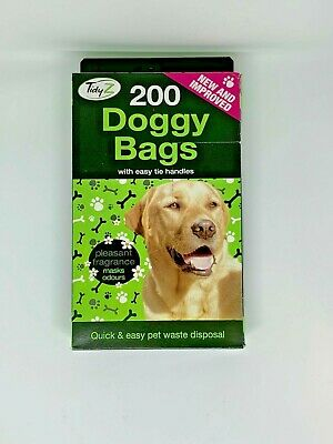 200 x Scented Fragranced Strong Doggy Poo Poop Waste Bags with Tie Handles Boxed
