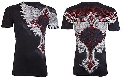 Xtreme Couture Affliction Mens S/S T-Shirt LAST BLOW Wings BLACK Biker M-XL $40
