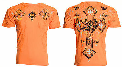 Archaic Affliction Mens S/S T-Shirt GLORY Cross ORANGE Tattoo Biker M-3XL $40