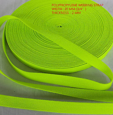 Camping fluorescent Yellow 20mm Polypropylene Webbing Straps Dog Leads Belts