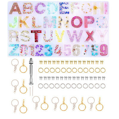 227pcs DIY Letter Alphabet Mold Kit Number Silicone Molds Resin Casting Set NEW