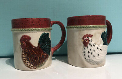 "BON JOUR /""Chantileer Country/"" HEN//ROOSTER Farmhouse Stoneware COFFEE MUG 1"