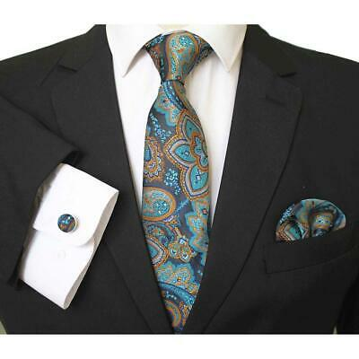 Celino Men's Silk Neck Tie Set with Cufflinks & Handkerchief