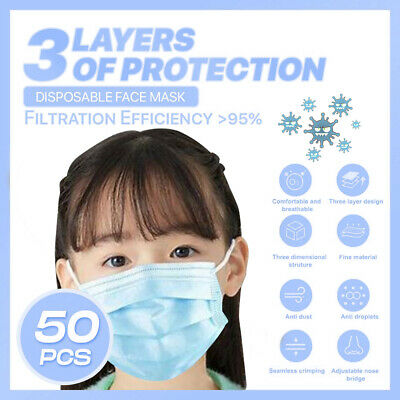 [Kid Child] [50-PC]3PLY Layer Disposable Face Mask Dust Filter Protection Blue