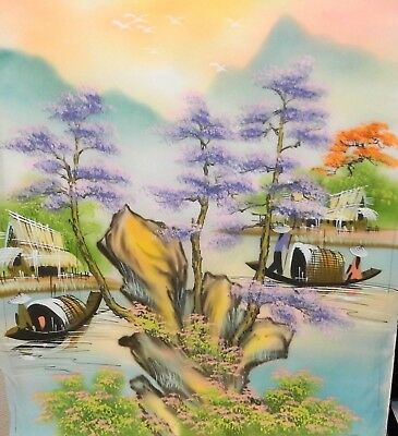 Chinese Original Watercolor On Silk Village Painting Unsigned