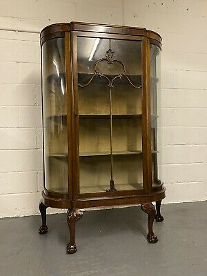 Early 20th Century Large Mahogany Curved Glass Cabinet With Ball & Claw Feet