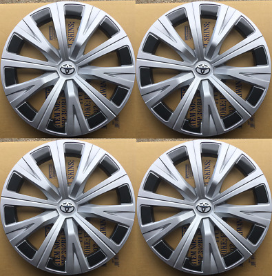 """4X 16"""" Hub Caps Fit  2007-2020 Toyota Camry  Wheel Covers Black Silver SET OF 4"""