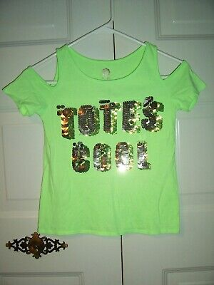 Total Girl green open shoulder Tee sequin embellished totes cool graphic size 14