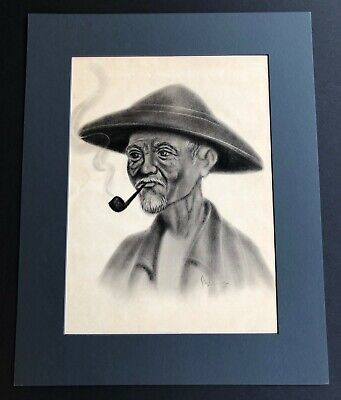 Vintage Vietnamese / South Asian Original Charcoal Drawing On Paper With Signed