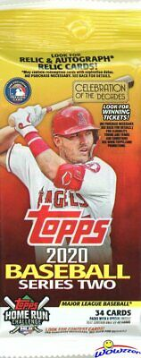 2020 Topps Series 2 Baseball HUGE Factory Sealed JUMBO FAT PACK-34 Cards!