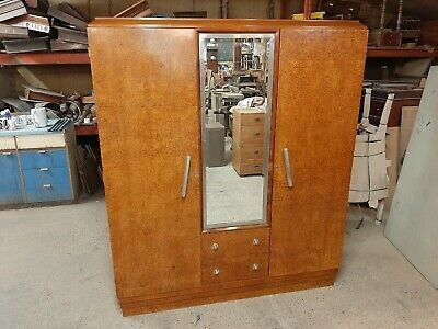 Lovely Antique French  Art Deco Maple Breakdown Wardrobe Great Condition.