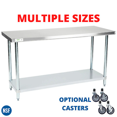 Work Table 304 Stainless Steel Kitchen Prep Workstation With Casters ANY SIZE