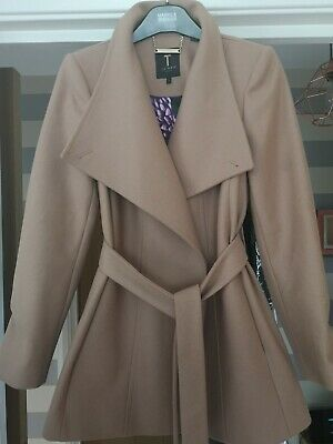 TED BAKER PARIA Taupe Wool & Cashmere Wrap Coat Uk 14 Ted 4