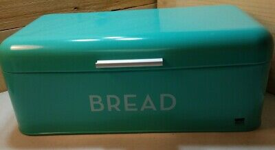 Now Designs Turquoise White Metal Bread Box 64 99 Picclick