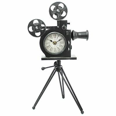 Classic Movie Film Camera Mantel Clock With Tripod - Retro Desk Table Clock