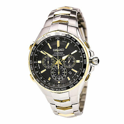 New Seiko Coutura Radio Sync Solar Chronograph Two Tone Steel Mens Watch SSG010