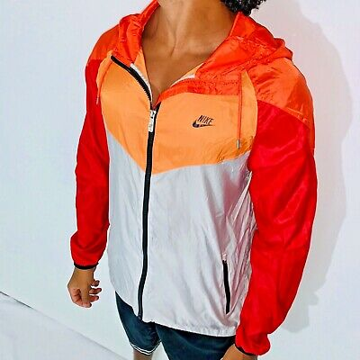 RARE NIKE TECH Windrunner Veste Coupe Vent Nylon Glanz Rouge