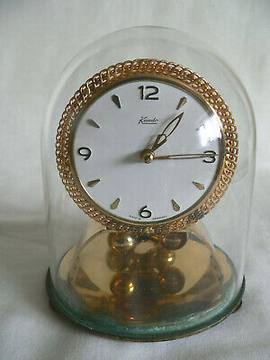Vintage Kundo Germany Mechanical Brass Mantle Clock with Glass Dome-not working