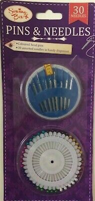 Pins And Neeles. Coloured Pin Heads And  30 Assorted Needles In Handy Dispenser.
