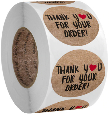 x100 Thank You Stickers Gold Brown Red White Purchase Small Business Labels