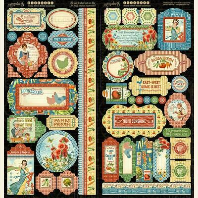 Graphic 45 Tropical Travelogue Chipboard Embellishment Tags Motif Icons