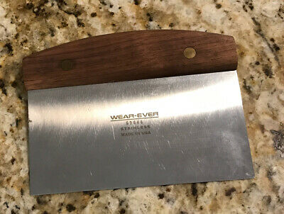 Wear-Ever Dough Cutter / Scraper with Wooden Handle Stainless And Made In USA