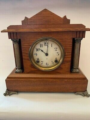 Antique Ansonia Clock Co. New York Wooden Mantle Clock