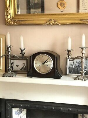 Antique Mantle Shelf Bookcase Art Deco Chiming  Clock Wind Up Working Tidy