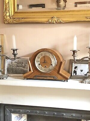 Antique Mantle Art Deco 1930s Napoleon Hat Chiming Clock Wind Up Working