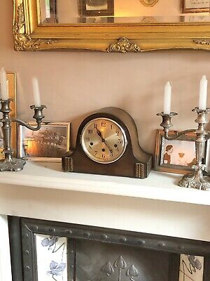 Antique Mantle Shelf Bookcase Art Deco Chiming Clock Wind Up Working