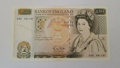 Bank of England £50 Fifty Pound Note Gill 1988-91 D33 491137 VF