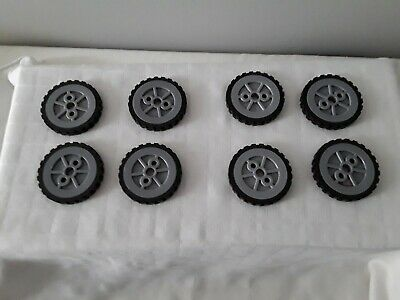 """Knex 4 Wheels tires Small 1.75/"""" Tire with 1.5/"""" Silver Spoke Hubs Pulleys"""