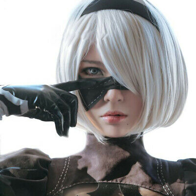 Anime Cartoon Characters Yorha 2B Silver Short Straight Wig Cosplay Pa BJ