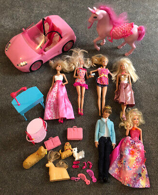 Barbie - Dolls, Ken, Car, Unicorn & Accessories Bundle