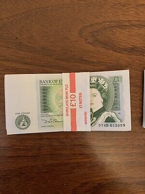 Genuine Crisp GBP £1 Note Consecutive Serial Numbers, One Pound Note 1797-1984