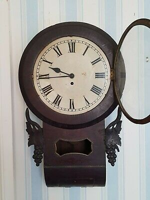 Antique-Georgian-Rosewood-Single Fusee Wall/Tavern Clock-Large Dial/GWO-c1800