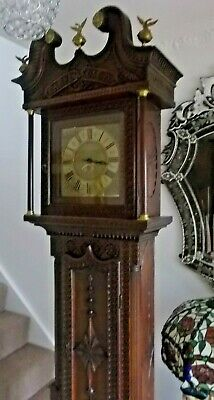 Rare One Handed Antique Carved Oak Grandfather Longcase Clock Carpe Diem 1700