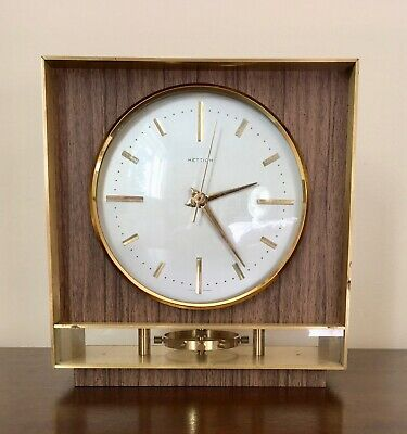 Vintage HETTICH Brass Table Clock Germany - 1970-1979 Visible Rotating Pendulum