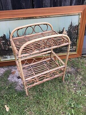 Vintage Mcm Retro bamboo Cane Franco Albini Style Drinks Trolley Gin Bar