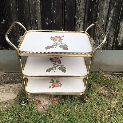 Vintage Retro 3 Tier hostess drinks trolley Floral Gin Bar