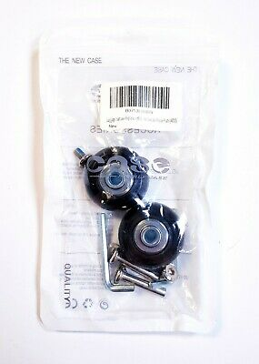 Set of 2 40mm Luggage Suitcase Replacement Wheels Black With Axles Repair Wrench