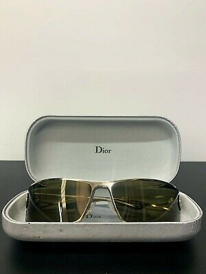 Vintage Christian Dior Polarised Sunglasses. Silver Frame with Green Lenses.