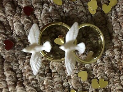 Peace dove cake topper gold and white rings