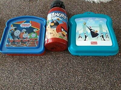 Thomas The Tank Sandwich box, Mary Poppins, Angry birds Flask
