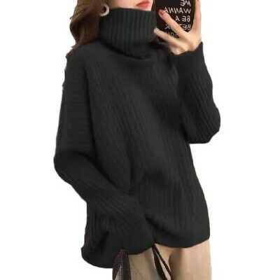 Winter Women Loose Fit Turtleneck Knitted Sweater Pullover Leisure Fashion Top B