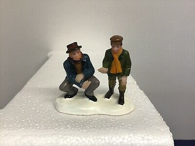 Lemax ? Carole Towne ? ~Two Men Warming Hands~Christmas village Figurine~